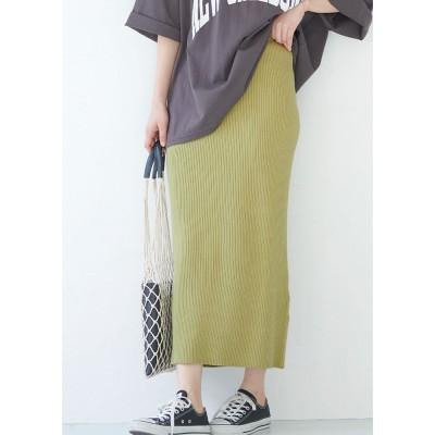 コカ coca シャリ感リブニットスカート (Yellow)