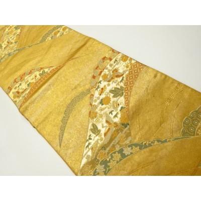 宗sou 波に宝尽くし・舞鶴模様織り出し袋帯【リサイクル】【着】