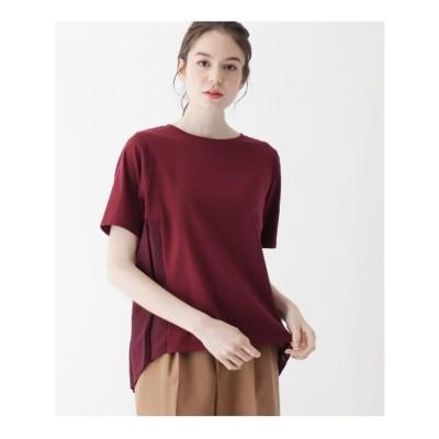 シューラルー SHOO-LA-RUE 【M-LL】天竺×バックプリーツTシャツ (ワインレッド)