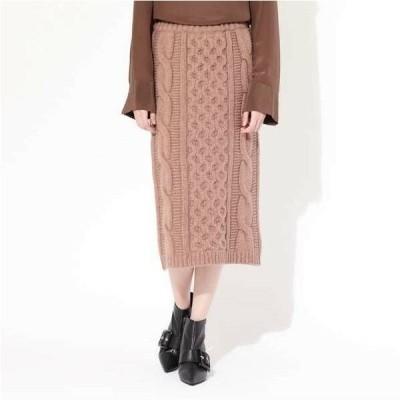 ケーブルニット ミモレ丈 タイト スカート キレイめ カジュアル 大人可愛い 秋 冬 レディース ファッション