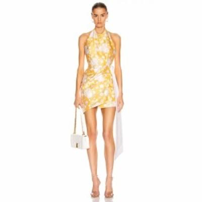マルカリアン markarian レディース ワンピース ワンピース・ドレス Bellini Mini Wrap Dress Yellow Brocade