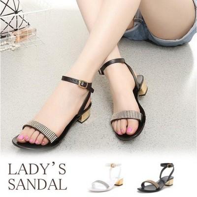 サンダル ミドルヒール レディース レディースサンダル 女性 履きやすい 歩きやすい 痛くない 大人 日常 通勤 美脚 コーデ ブラック ホワイト キラキラ