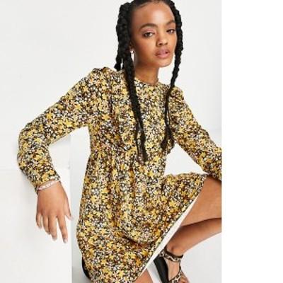 エイソス レディース ワンピース トップス ASOS DESIGN mini smock dress with frill detail in yellow floral Yellow ditsy