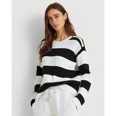 ラルフローレン レディース セーター Polo Ralph Lauren Striped Button-Trim Cotton Sweater トップス White