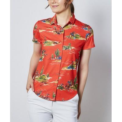【マンシングウェア】 カウペンギンプリント半袖シャツ レディース レッド系 LL Munsingwear