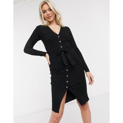 ブレイブソール ミディドレス レディース Brave Soul dallio button down jumper dress in rib  エイソス ASOS sale ブラック 黒