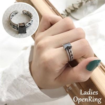 指輪 オープンリング アクセサリー レディース シルバー925 ラインストーン 四角形 鎖風 おしゃれ 女性用 お出かけ デート パーティー ギフト