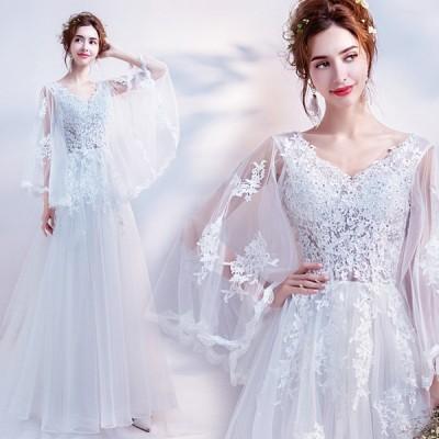 ウエディングドレス パーティードレス 安い 可愛い 結婚式 披露宴 花嫁 ブライダル シースルー 刺繍 花 モチーフ Aライン
