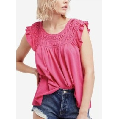 Project Social T プロジェクトソーシャルT ファッション トップス Project Social T NEW Pink Womens Size Large L Smocked Ruffled Blo
