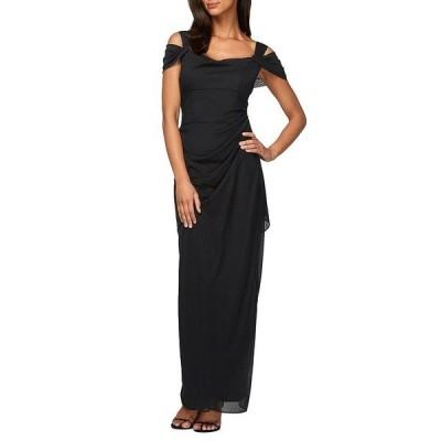 アレックスイブニングス レディース ワンピース トップス Petite Exposed-Shoulder Mesh Gown Black
