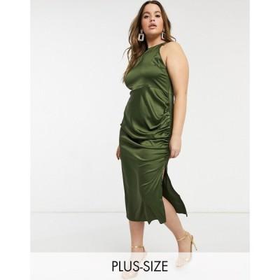 ナーナー NaaNaa Plus レディース ワンピース ワンピース・ドレス high neck satin dress in olive オリーブ