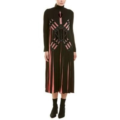 ヴァレンティノ レディース ワンピース トップス Valentino Garavani Pleated Silk Midi Dress black and pink
