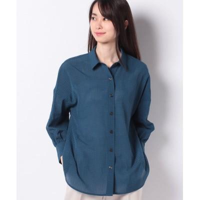 【レリアン】 チェック柄長袖シャツ レディース ブルー系 9 Leilian