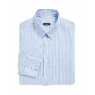 ヴェルサーチコレクション Men Clothing Fine Stripe Cotton Dress Shirt