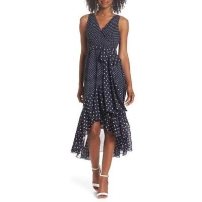 エリザジェイ レディース ワンピース トップス Polka Dot High/Low Hem Dress (Regular & Petite) NAVY IVORY