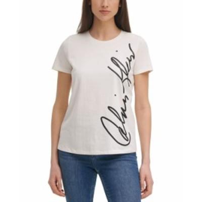 カルバンクライン レディース シャツ トップス Logo-Print T-Shirt White