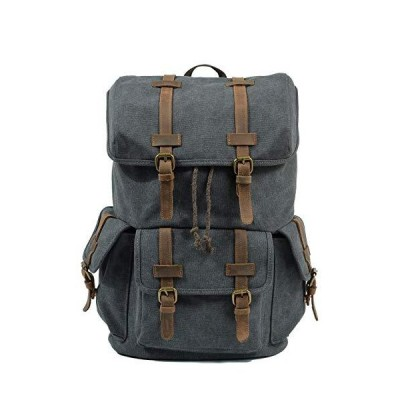 Wu Good Vintage Canvas Travel Backpack Student Bag Orotund Capacity Outside Mountaineering Backpack Male (Color : Dark Grey) 並行輸入品