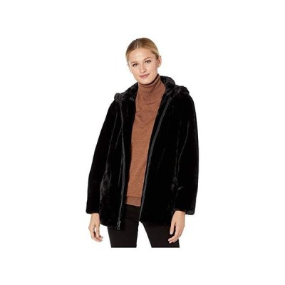 Vince Camuto Hooded Zip Front Faux Fur Jacket V29753B レディース コート アウター Black