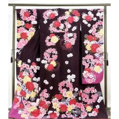 (振袖)新品仕立済 正絹 薔薇リボン模様 振袖(新品)(仕立て上がり)(着物)