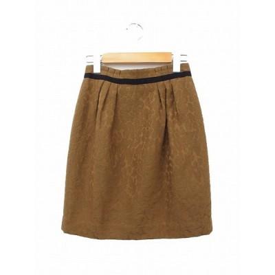 ボールジー BALLSEY トゥモローランド スカート 台形スカート ギャザー ミニ 毛 ウール ヒョウ柄 レオパード 34 ブラウン 茶
