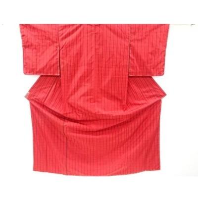 宗sou 未使用品 格子模様織り出し米沢紬着物【リサイクル】【着】