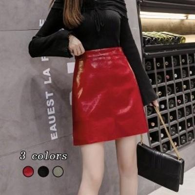 タイトスカート ショート丈スカート 大きいサイズ レザースカート ボトムス Aラインスカート 無地 レディース ハイウエスト  体型カバー