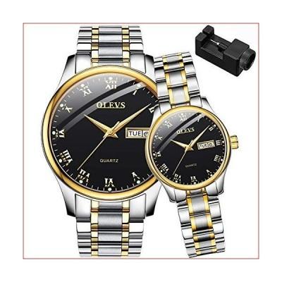 OLEVS 2pcsレディース&メンズday-date Windows &光チタンスチールバンドクォーツ彼&彼女カップル手首腕時計、