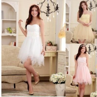 ミニドレス パーティードレス ミニ ドレス ワンピース 大きいサイズ チューブトップ ノースリーブ チュールスカート 透け感