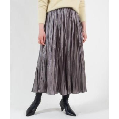 【Ballsey】グロッシーサテンプリーツ ミディスカート