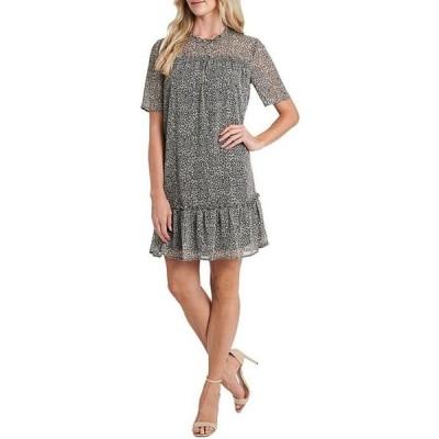 セセ レディース ワンピース トップス Short Sleeve Leopard Print Shift Dress