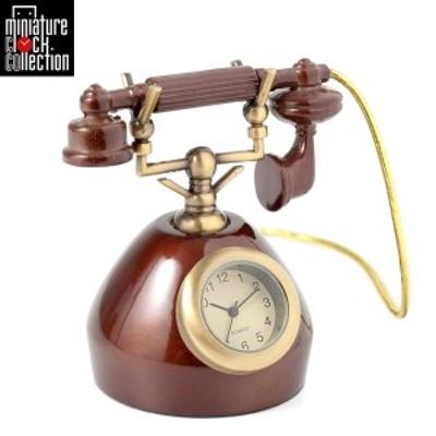 ミニチュア クロック 置時計 電話型 おしゃれ 小さい アナログ 卓上 インテリア デザイン かわいい 雑貨 C3539-BR