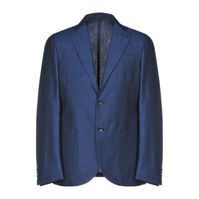 LABORATORI ITALIANI テーラードジャケット ダークブルー 48 コットン 67% / 麻 33% テーラードジャケット