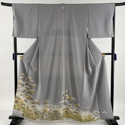 色留袖 美品 秀品 一つ紋 松竹梅 華文 金糸 金彩 灰紫 袷 身丈160cm 裄丈66.5cm M 正絹 中古
