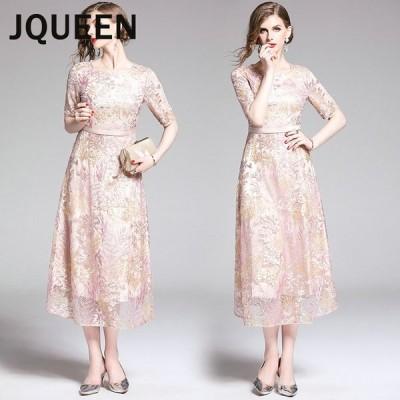 JQUEEN パーティードレス 結婚式 ワンピース 20代 30代 40代 パーティドレス 花柄刺繍 ウェディングドレス ウエディング ドレス 二次会 花嫁 ブライズメイド