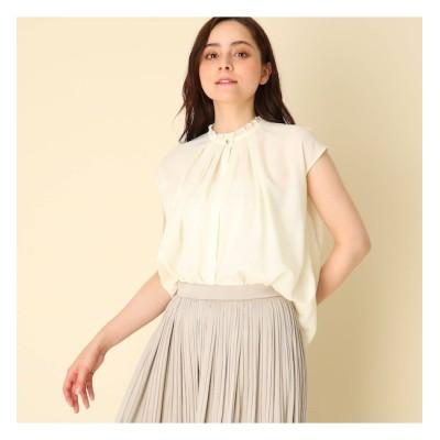 【クチュール ブローチ/Couture brooch】 【WEB限定サイズ(LL)あり/手洗い可】フリルスタンドネックブラウス