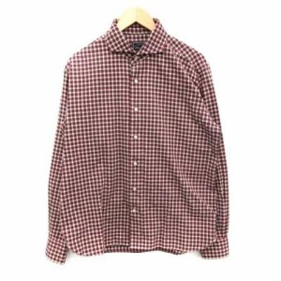 【中古】オリアン ORIAN カジュアルシャツ 長袖 チェック 白 赤 グレー /ST メンズ