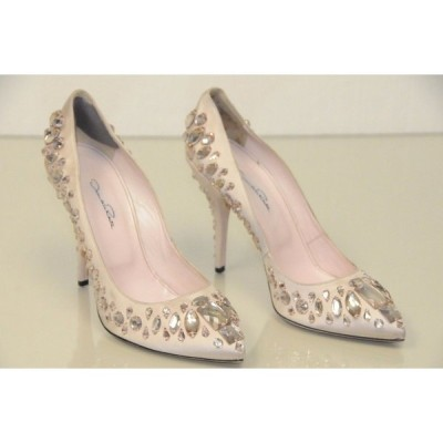 ハイヒール オスカーデラレンタ OSCAR De La RENTA Nude Pink Satin Crystals Shoes Pumps 40  Wedding