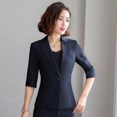 テーラードジャケット 1つボタン 無地 細身 ショート丈 レディース フォーマル スーツ ブラック ジャケット オフィス 通勤 OL 7分袖 サマージャケット