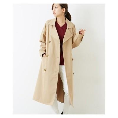 コート レディース 綿100% ウエスト ベルト 付ビッグトレンチ  M/L ニッセン nissen
