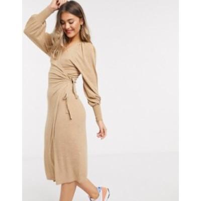 エイソス レディース ワンピース トップス ASOS DESIGN wrap midi dress in camel Camel
