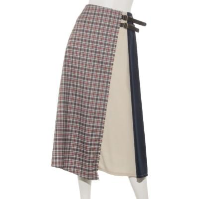 archives (アルシーヴ) レディース チェック配色ベルト付スカート ネイビー M