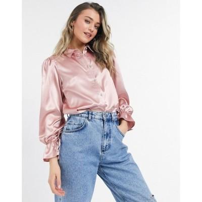 ミスセルフフリッジ レディース シャツ トップス Miss Selfridge satin oversized shirt in pink
