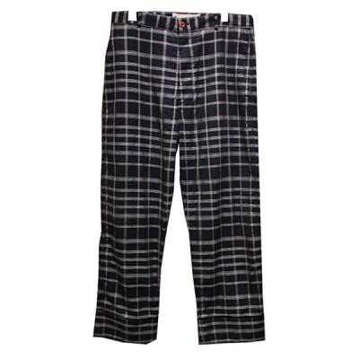 MARNI 20AW チェックコットンツイルパンツ コントラストカラーボタン パジャマパンツ ネイビー サイズ:46 (青山店) 201114