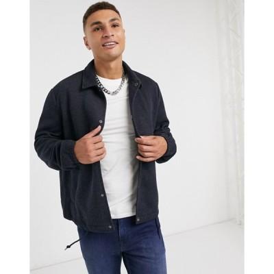 オンリーアンドサンズ メンズ ジャケット・ブルゾン アウター Only & Sons lightweight harrington jacket in navy