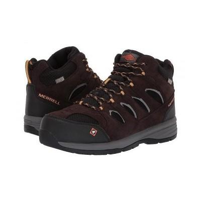 Merrell Work メンズ 男性用 シューズ 靴 ブーツ 安全靴 ワーカーブーツ Windoc Mid Waterproof Steel Toe - Espresso