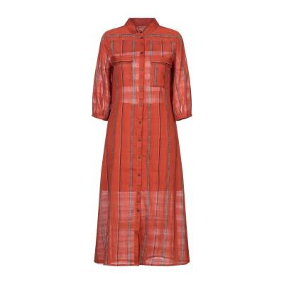 BA&SH 7分丈ワンピース・ドレス 赤茶色 1 コットン 100% 7分丈ワンピース・ドレス