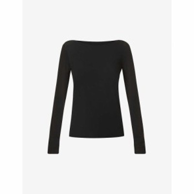 ウォルフォード WOLFORD レディース トップス Aurora long-sleeved stretch-woven top Black