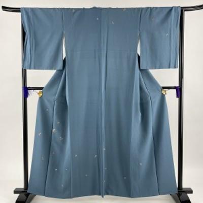 付下げ 秀品 草花 刺繍 縮緬 青緑 袷 身丈159cm 裄丈66.5cm M 正絹 中古
