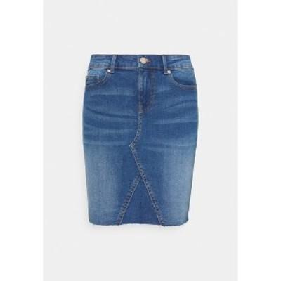 オンリー レディース スカート ボトムス ONLFAN SKIRT RAW EDGE - Mini skirt - medium blue denim medium blue denim