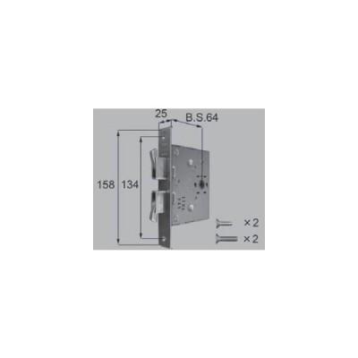 QDN608  TOSTEM トステム 錠ケース  MIWA ダブルデッド鎌箱錠  バックセット64mm
